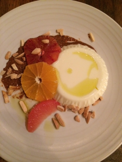 Almond panna cotta was light and creamy.